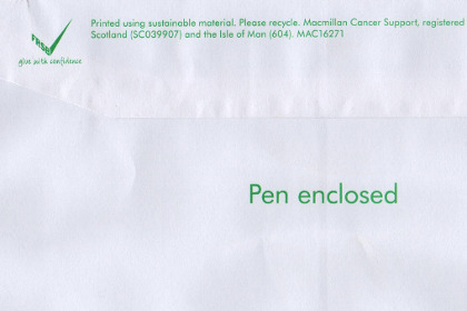 The back of an envelope from Macmillan Cancer Support, promising me a free pen.