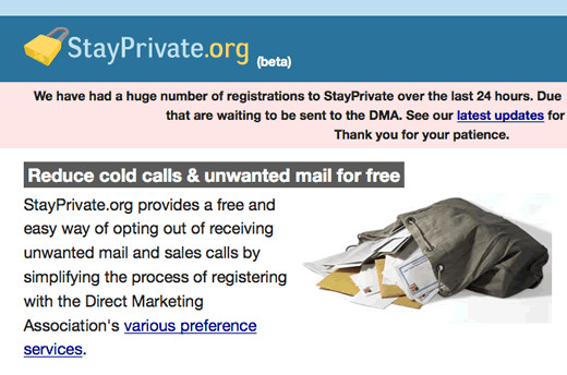Screen shot of stayprivate.org.