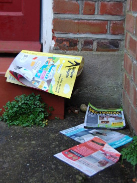 This year's edition of the Yellow Pages, dumped on a doorstep.