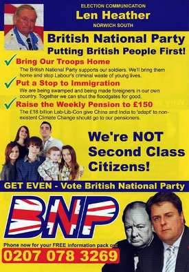 The cover of a leaflet from the BNP, featuring lots of bigoted nonsense.