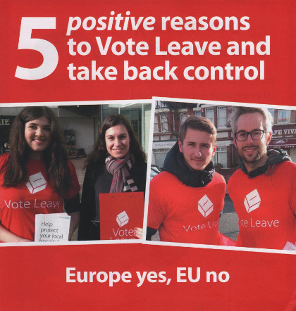 The cover of the Vote Leave leaflet, promising '5 positive reasons to vote leave'.