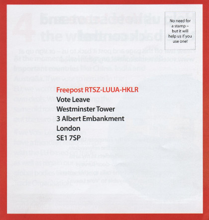A page from the Vote Leave leaflet showing Vote Leave's freepost address'.