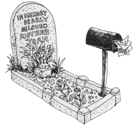 An illustration of a grave and a letterbox stuffed with junk mail. By Eloise O'Hare, (c) 2011.