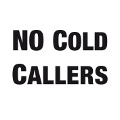 White 'No Cold Callers' doorbell sticker.