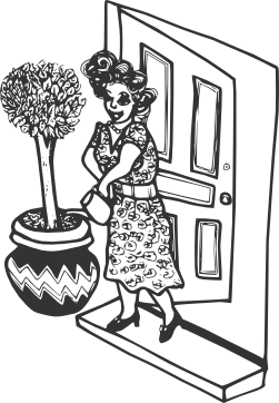 Illustration of a woman free of junk mail and growing a small tree.