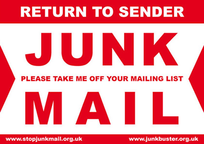 Label with the text 'Return to sender, junk mail'.