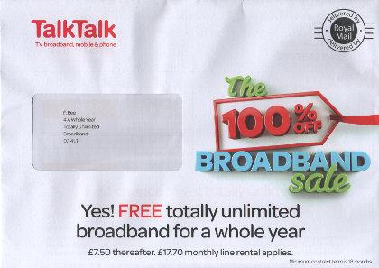 Junk mail from Talk Talk.