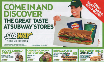 Junk mail from Subway.