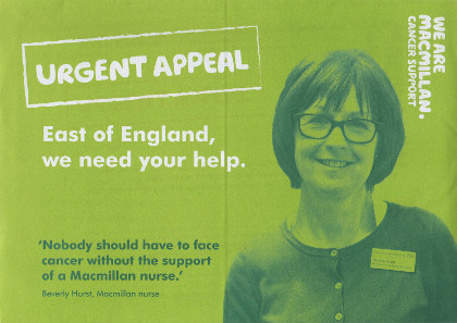 Junk mail from Macmillan Cancer Support.