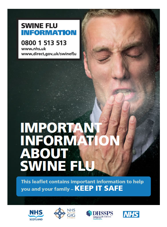 The cover of the 'Swine Flu' leaflet produced by the Department for Health